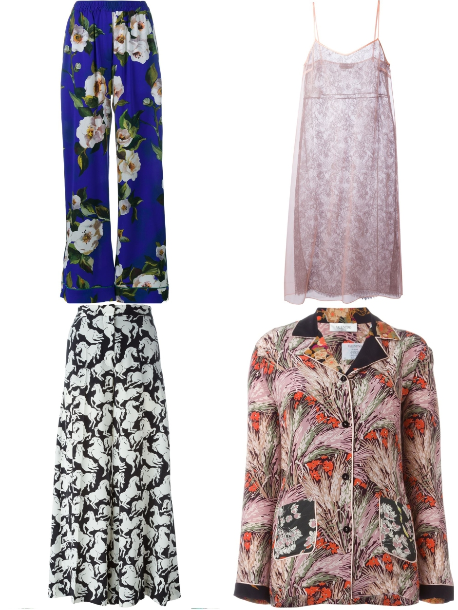 DOLCE & GABBANA floral pyjama trousers * ROCHAS sheer lace dress * STELLA MCCARTNEY horse print trousers * VALENTINO Floral Print Crepe de Chine Pyjama Top