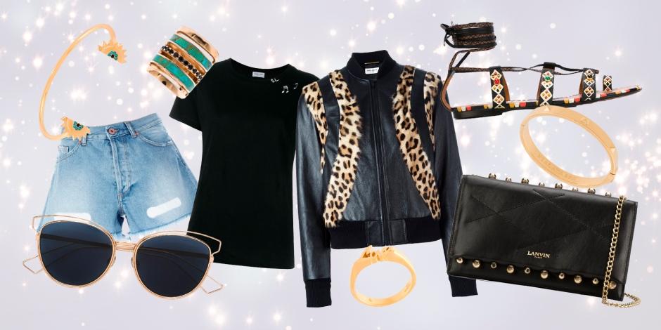 OFF-WHITE  frayed denim shorts * SAINT LAURENT  music note printed T-shirt * SAINT LAURENT  leopard panel bomber jacket * VALENTINO  hand painted sandals * LANVIN  'Sugar' crossbody bag * DIOR EYEWEAR  'Sideral 2' sunglasses * ILEANA MAKRI  double detail bangle * NIALAYA JEWELRY  'Skyfall' stud bangle * PAMELA LOVE  'Inlay' ring * SAINT LAURENT  'Eighties' ring