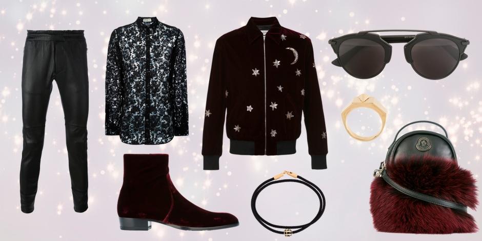 DIESEL BLACK GOLD  'Leskin' trousers * SAINT LAURENT  sheer lace shirt * SAINT LAURENT  star and moon embellished bomber jacket * SAINT LAURENT  'Deven' velour ankle boots * MONCLER  mini backpack crossbody bag * DIOR EYEWEAR  'Dior So Real' sunglasses * LUIS MORAIS  14kt gold round hash tag enamel charm bracelet * NORTHSKULL  'Legacy' ring