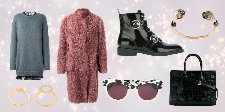 Nº21  jeweled collar sweater dress * PAUL SMITH  single breasted shearling coat * MARC JACOBS  'Taylor' boots * SAINT LAURENT  baby 'Sac de Jour' tote * STELLA MCCARTNEY  'Oversized Square' sunglasses * ALEXANDER MCQUEEN  twin skull bracelet * J.W.ANDERSON  'Pierce' ring * MARC JACOBS  logo ring