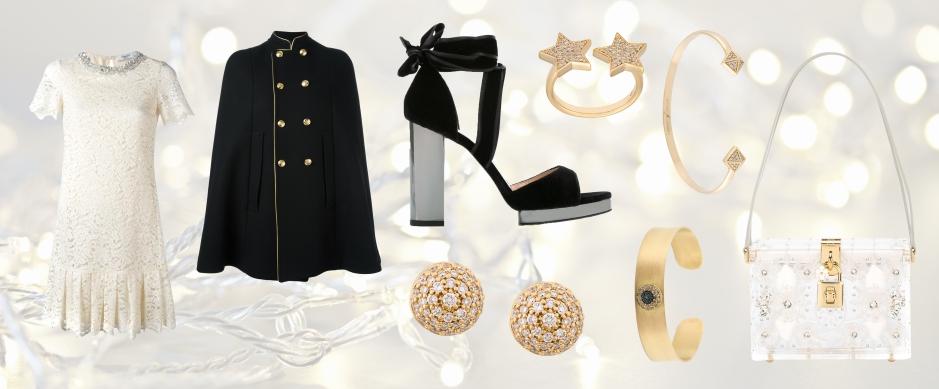 BLUGIRL  floral lace dress * SAINT LAURENT  military cape * VALENTINO  Valentino Garavani velvet platform sandals * DOLCE & GABBANA  'Dolce' box shoulder bag * ALINKA  'Marina' diamond stud earrings * ALINKA  'Stasia' diamond double star ring * ILEANA MAKRI  'Round Evil Eye' cuff * SARAH NOOR  pyramid diamond bangle