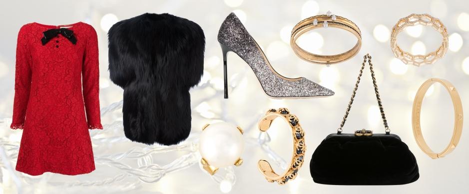 SAINT LAURENT  sequin bow lace dress * SAINT LAURENT  short sleeve coat * JIMMY CHOO  Romy 100 pumps * CHANEL VINTAGE  soft velvet clutch * WOUTERS & HENDRIX  'Holiday' earring * CHANEL VINTAGE  logo stone cuff * ALEXANDER MCQUEEN  set of four embellished bracelets * ASTLEY CLARKE  'Honeycomb' diamond band ring * NIALAYA JEWELRY  'Skyfall' stud bangle