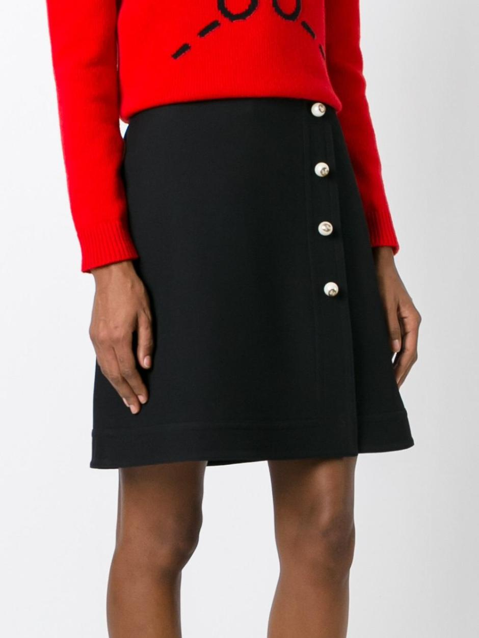 GUCCI  high-rise pearl button skirt