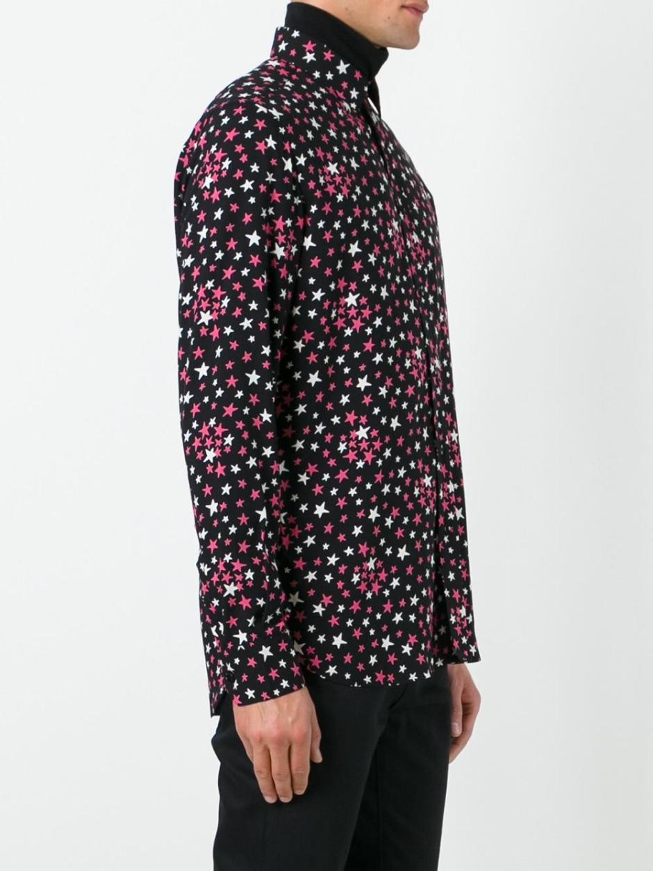 SAINT LAURENT  signature Yves collar printed shirt